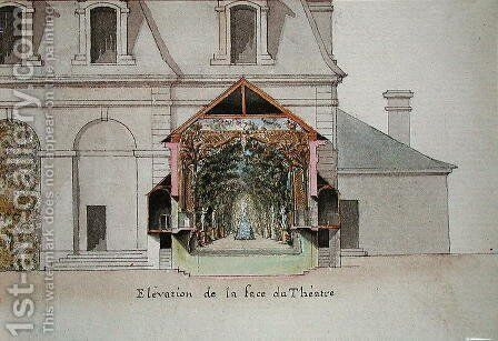 Elevation of the Theatre of the Salle de Spectacle, Chateaux de Chantilly, from the 'Atlas du Comte du Nord', 1784 by Chambe - Reproduction Oil Painting