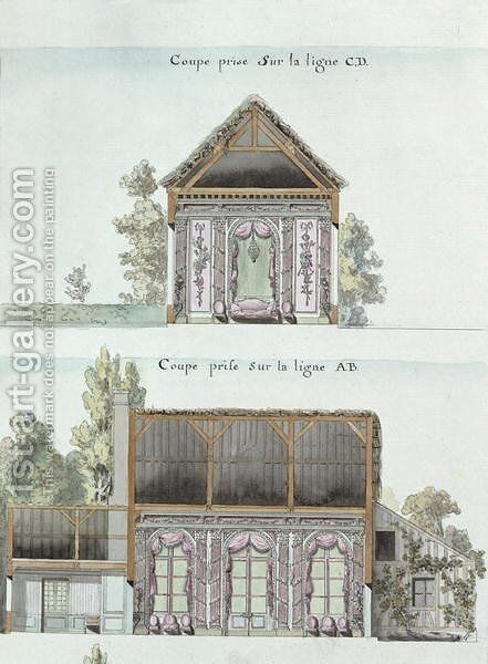 Cross-sections of the dining room of the Chateau de Chantilly, f.16 from the 'Atlas du Comte du Nord', 1784 by Chambe - Reproduction Oil Painting