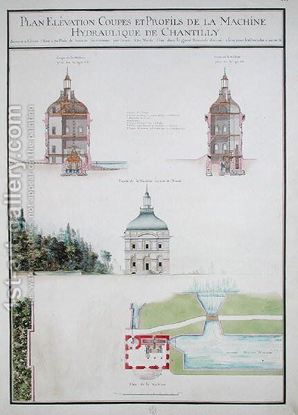 Plan and elevation of a hydraulic machine, from 'Atlas du Comte du Nord', 1784 by Chambe - Reproduction Oil Painting