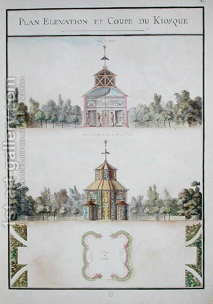View of a kiosk, from 'Atlas du Comte du Nord', 1784 by Chambe - Reproduction Oil Painting