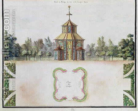 View of a kiosk, from 'Atlas du Comte du Nord', 1784 (2) by Chambe - Reproduction Oil Painting