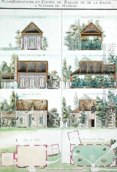 View of the Living Room and the Dining Room of the Hameau, Chateau de Chantilly, from the Atlas of the Comte du Nord, 1784 by Chambe - Reproduction Oil Painting