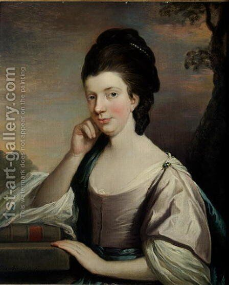 Portrait of a Lady, thought to be Mrs Elizabeth Hartley (1751-1824) by Mason Chamberlin - Reproduction Oil Painting