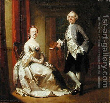 Conversation Piece, 1761 by Mason Chamberlin - Reproduction Oil Painting