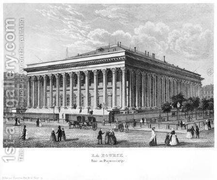 The Bourse and the Commercial Court, Paris, after a daguerreotype, c.1840 by Claude Hilaire Alphonse Chamouin - Reproduction Oil Painting
