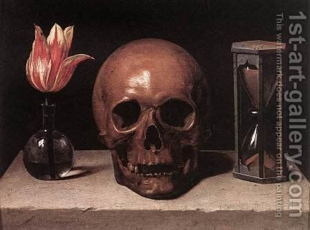 Vanitas Still Life with a Tulip, Skull and Hour-Glass by Philippe de Champaigne - Reproduction Oil Painting