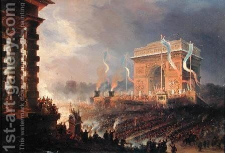 Festival of the Fraternity of the Arc de Triomphe, 24th April 1848 by Jean-Jacques Champin - Reproduction Oil Painting