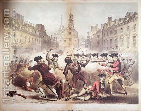 Death of Crispus Attucks at the Boston Massacre, 5th March, 1770, 1856 by James Wells Champney - Reproduction Oil Painting