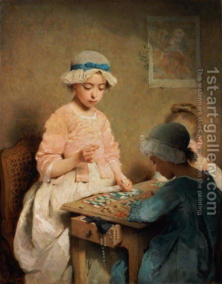 The Game of Lotto, 1865 by Charles Chaplin - Reproduction Oil Painting