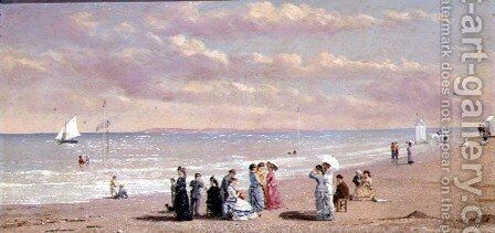 Elegant Figures on a Beach by Conrad Wise Chapman - Reproduction Oil Painting