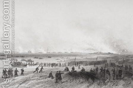 Landing the troops during the bombardment of Fort Fisher, North Carolina 1864 by Alonzo Chappel - Reproduction Oil Painting