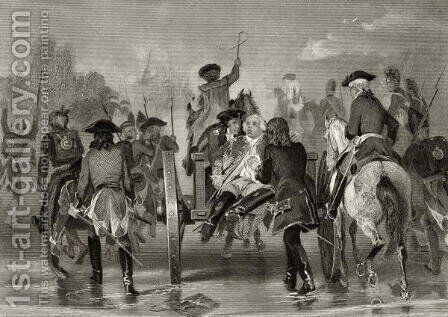 Mortally wounded General Edward Braddock retreats from the Monongahela River in 1755 after an attack from French and Indian Forces, from 'Life and Times of Washington', Volume I,  1857 by Alonzo Chappel - Reproduction Oil Painting
