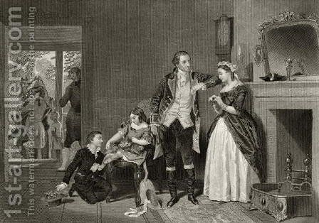 George Washington's first interview with Mrs Custis, from 'Life and Times of Washington', Volume I, 1857 by Alonzo Chappel - Reproduction Oil Painting