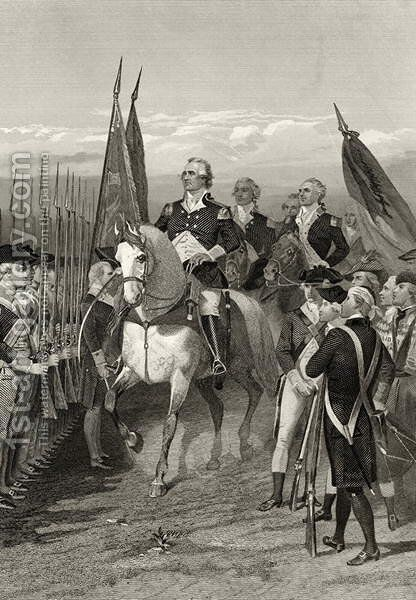 George Washington taking command of the Army, 1775, from 'Life and Times of Washington', Volume I,  1857 by Alonzo Chappel - Reproduction Oil Painting