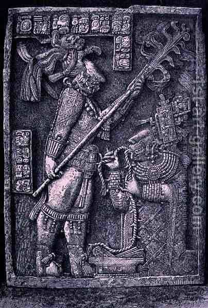 Carved stone lintel from Temple 23, Yaxchilan, 726 AD, showing the ruler Shield Jaguar and his wife, Lady Xoc, conducting a bloodletting ritual, from 'The Ancient Cities of the New World' by Henri Michel Antoine Chapu - Reproduction Oil Painting