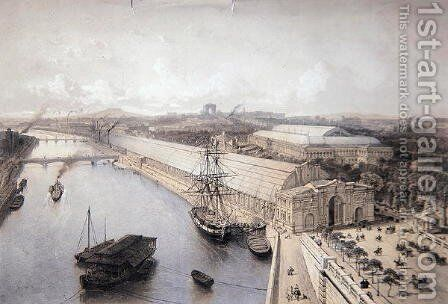 General View of the Palais de l'Industrie constructed for the Paris Exhibition of 1855 by Henri Michel Antoine Chapu - Reproduction Oil Painting