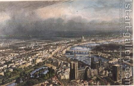 General Aspect of London, from Westminster Abbey, c.1850 by Henri Michel Antoine Chapu - Reproduction Oil Painting