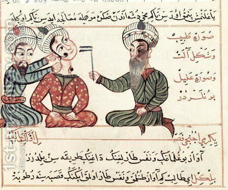 Ms Sup Turc 693 fol.29v Cauterisation of Scrofula, 1466 by Charaf-ed-Din - Reproduction Oil Painting