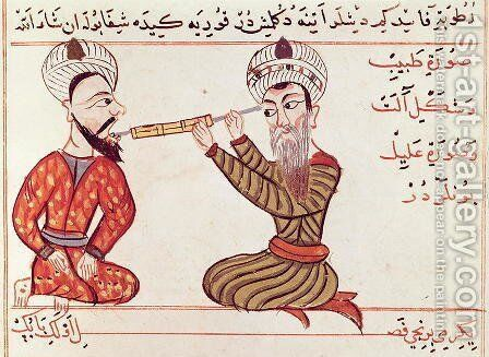 Ms Sup Turc 693 fol.28v Cauterisation for Toothache, 1466 by Charaf-ed-Din - Reproduction Oil Painting