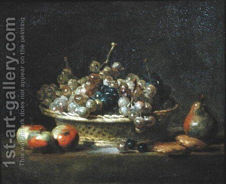 Basket of Grapes, 1765 by Jean-Baptiste-Simeon Chardin - Reproduction Oil Painting