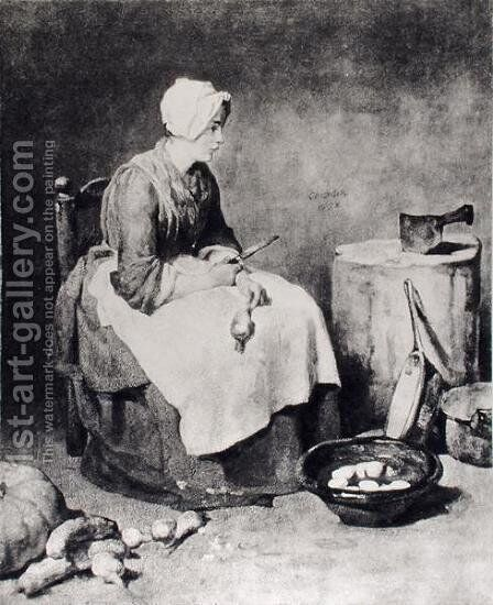 La Ratisseuse (Woman Paring Turnips), 1738 by Jean-Baptiste-Simeon Chardin - Reproduction Oil Painting