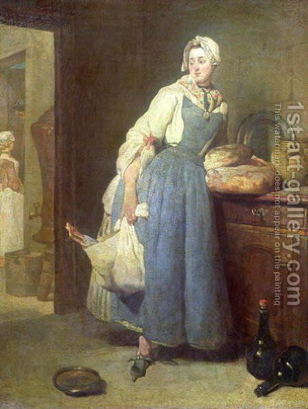 The Kitchen Maid with Provisions, 1739 by Jean-Baptiste-Simeon Chardin - Reproduction Oil Painting