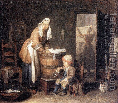 The Laundry Woman 2 by Jean-Baptiste-Simeon Chardin - Reproduction Oil Painting