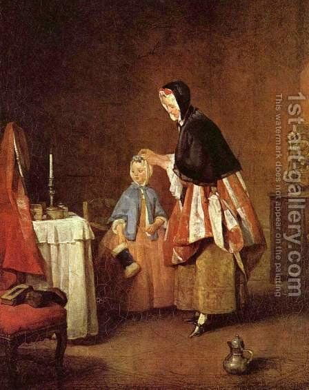 The Morning Toilet by Jean-Baptiste-Simeon Chardin - Reproduction Oil Painting