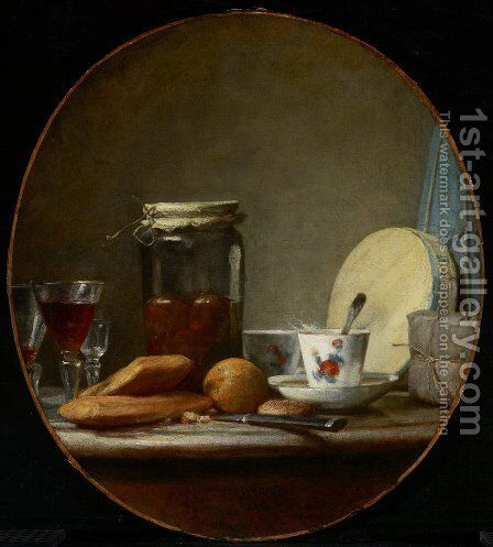 Jar of Apricots, 1758 by Jean-Baptiste-Simeon Chardin - Reproduction Oil Painting
