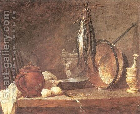 Still life: Fast Day Menu, 1731 by Jean-Baptiste-Simeon Chardin - Reproduction Oil Painting