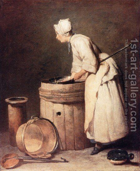 The Scullery Maid, 1738 by Jean-Baptiste-Simeon Chardin - Reproduction Oil Painting