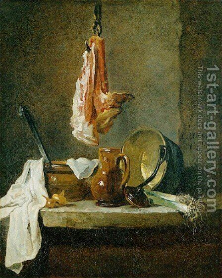 Still Life with a Rib of Beef, 1739 by Jean-Baptiste-Simeon Chardin - Reproduction Oil Painting