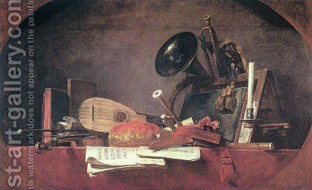 The Attributes of Music, 1765 by Jean-Baptiste-Simeon Chardin - Reproduction Oil Painting