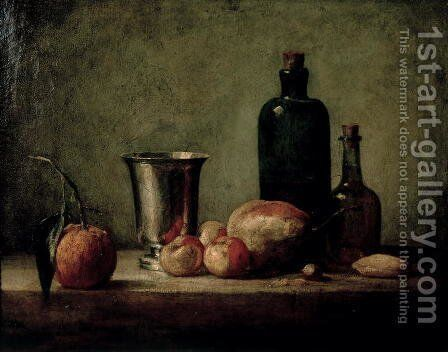 Still-life with Silver Beaker, Fruit and Bottles on a Table by Jean-Baptiste-Simeon Chardin - Reproduction Oil Painting