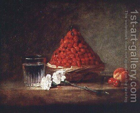 Basket with Wild Strawberries, c.1761 by Jean-Baptiste-Simeon Chardin - Reproduction Oil Painting