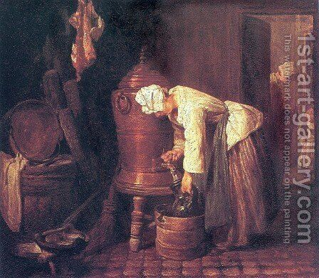 Woman Drawing Water from a Copper Cistern by Jean-Baptiste-Simeon Chardin - Reproduction Oil Painting