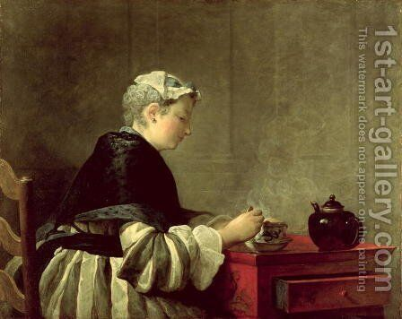 A Lady Taking Tea, 1735 by Jean-Baptiste-Simeon Chardin - Reproduction Oil Painting