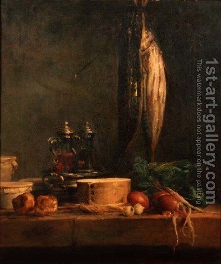 Still Life with Fish by Jean-Baptiste-Simeon Chardin - Reproduction Oil Painting