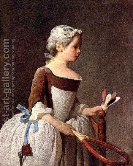 Girl with Racket and Shuttlecock, c.1740 by Jean-Baptiste-Simeon Chardin - Reproduction Oil Painting