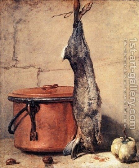 Rabbit and Copper Pot c.1739-40 by Jean-Baptiste-Simeon Chardin - Reproduction Oil Painting