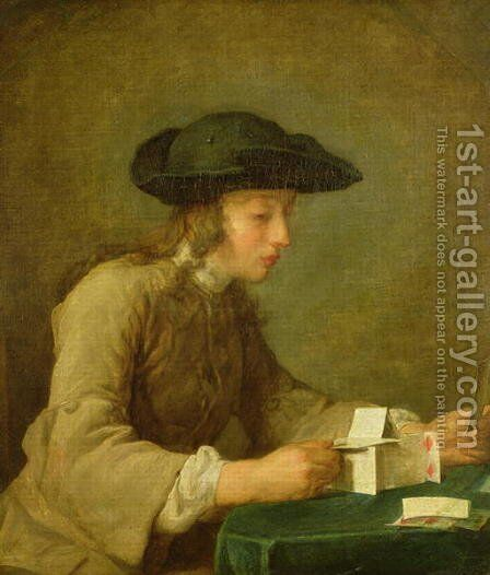The House of Cards 2 by Jean-Baptiste-Simeon Chardin - Reproduction Oil Painting