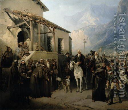 Field-marshal Alexander Suvorov (1729-1800) on the St Gothard summit, 13th September 1799, 1855 by Adolf Jossifowitsch Charlemagne - Reproduction Oil Painting