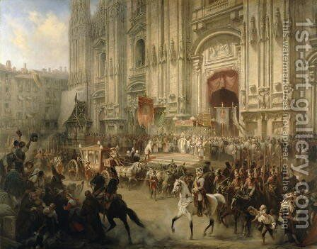 Ceremonial reception of Field-marshal Alexander Suvorov (1729-1800) in Milan in April 1799, c.1850 by Adolf Jossifowitsch Charlemagne - Reproduction Oil Painting