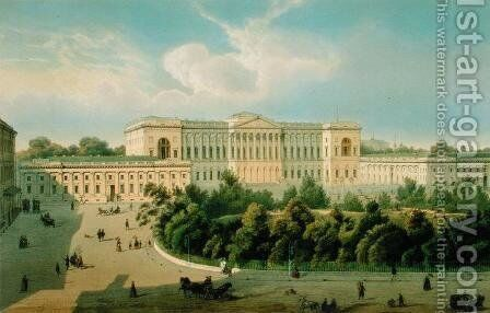 Palace of Grand Duke Mikhail, View from the Square, 1850s by J. Charlemagne - Reproduction Oil Painting