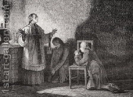 Louis XVI (1754-93) at Prayer Before his Execution by H. de la Charlerie - Reproduction Oil Painting