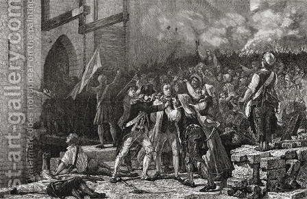 The Taking of the Bastille, 14th July 1789, engraved by Pannemaker-Ligny from 'Histoire de la Revolution Francaise' by H. de la Charlerie - Reproduction Oil Painting