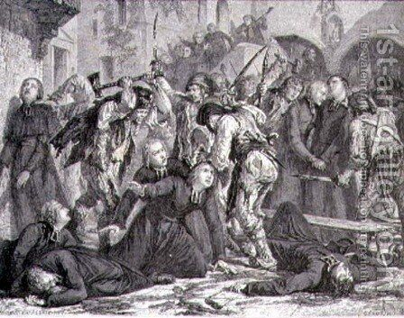 The Massacre of the Priests in September 1792 by H. de la Charlerie - Reproduction Oil Painting
