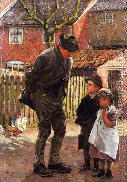 She Does Not Want To Go To School by James Charles - Reproduction Oil Painting