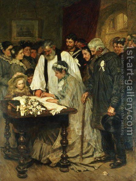 Signing the Marriage Register, 1896 by James Charles - Reproduction Oil Painting