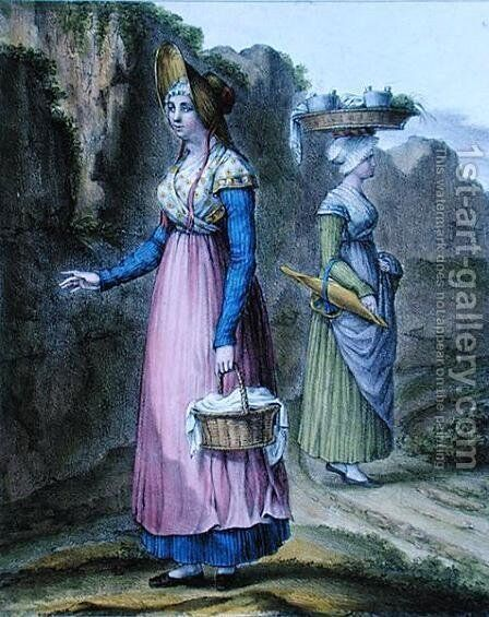 Peasant Girls from the Lyon Region, plate 2 from 'Suite de Costumes', c.1845 by Charpentier - Reproduction Oil Painting
